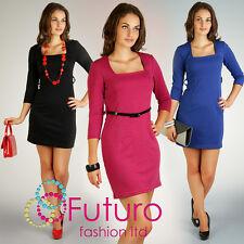Women's Classic & Chic Dress Tunic Style Square Neck 3/4 Sleeve Size 8-16 PA06