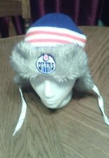 Edmonton Oilers NHL Reebok Blue Orange LogoKnit Hat Cap Winter Beanie GUC