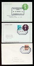 GB Cancelleria lettercards + ENV 1976-78 Wimbledon Tennis PMKS a George King