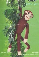"Caron Simply Soft Crochet MONKEY Stuffed Animal Doll Toy 21"" tall CN0999"