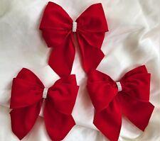 """3 x Red Velvet cablata bordo 6"""" Fiocchi, Fiocchi Regalo, Decorazione, Cravatta Albero Natale per fiocchi"""