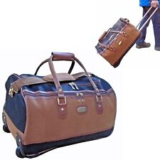 Wheeled Cabin Holdall Hand Luggage Duffle Travel Trolley Bag Synthetic Suede