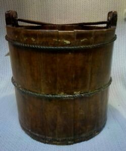 NICE Antique Wooden Stave Well Water Bucket Metal Bands & Wrought Iron Handle