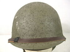 WWII US M1 Helmet Steel Pot Swivel Bale Front Seam w/Seamans Pape Liner Complete