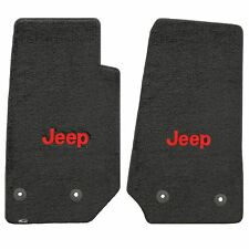 Jeep Wrangler Unlimited 2014+ 2Pc Front Black Velourtex Red Jeep Logo