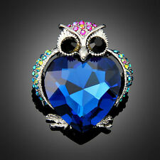 Cute blue crystal rhinestone brooch pin for party prom owl animal Party Jewelry