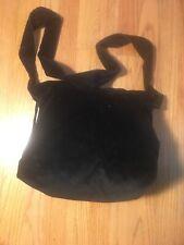 Ladies Black Corduroy Purse Sling Back Shoulder Strap Handbag Zebra Lining NEW