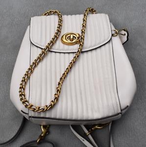 Coach White Leather Convertible Backpack Purse Handbag Crossbody