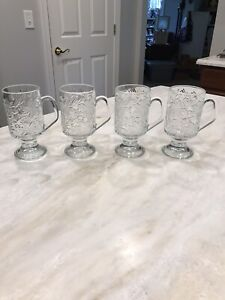 4 Princess House Fantasia Crystal Pedestal Footed Irish Coffee Mugs Poinsettia