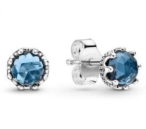 Original Pandora Ohrringe Ohrstecker Blue Sparkling Crown 298311NMB Silber 925