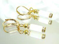 Modeschmuck OHRSCHMUCK  Ohrring Ohrhänger  Walzen weiss gold jade strass 328c