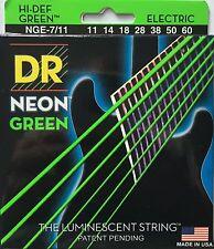 DR Handmade NGE7-11 Neon GREEN Electric Guitar Strings 11-60 heavy 7-String set