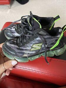 Skechers Boys Black And Green Foam Sole Trainers Size 10 UK