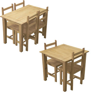 Corona Compact Solid Pine Wood Dining Table and 2/4 Chairs Set Kitchen Furniture