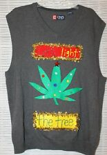"Ugly Tacky Christmas Weed Sweater ""Let's Light The Marijuana Tree"" Size XL Vest"