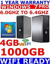 DELL COMPUTER PC WINDOWS 7 PRO OR 10 PRO DUO CORE 6.0GHZ TO 6.4GHZ 4GB RAM 1TB