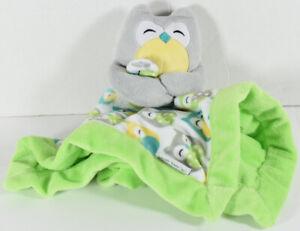 Carters GRAY OWL SOFT RASCHEL LOVEY Blankie SECURITY BLANKET Yellow Teal Green