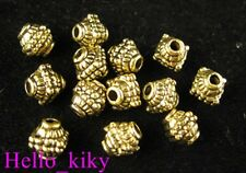 60 Antiqued gold plt dotted square barrel spacers A533
