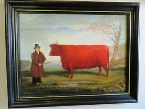 Antique English school oil of a Durham Ox  with his master