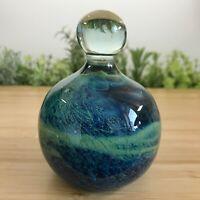 Mdina Malta Art Glass Decorative Ornament Paperweight Green Blue 416g-8.8cm Tall