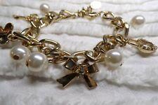 Vintage Gold Heavy Link Charm BRACELET Rhinestones, Pearls, Heart & Butterfly