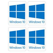 """Windows 10"" White 1""x0.75"" Set of 4 Computer / Laptop Case Stickers"