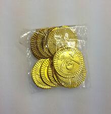 PLASTIC PIRATE TREASURE PARTY BAG GOLD COINS 12 PER PACK SKULL AND CROSSBONES