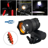 Zoom Rechargeable 15000LM XML T6 LED MTB Bicycle Light Bike Front Headlight USB