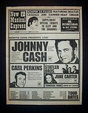 Johnny Cash Carl Perkins June Cater Statler Bro UK Tour 1968 NME Cover Poster Ad
