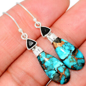 Ithaca Peak Turquoise & Black Onyx 925 Sterling Silver Earring Jewelry BE8968