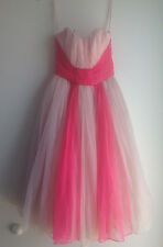 Vintage 1950s Pink Tulle Dress Ball Gown 50s Prom Dress Quinceanera
