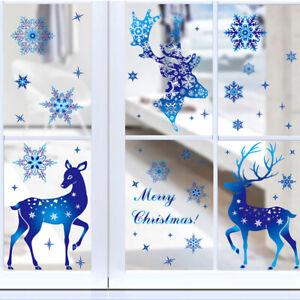 Christmas Blue Window Sticker PVC Elk Deer Snowflake Art Wall Decal Xmas Decor