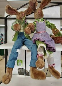 """30 """" Pose-able Easter Bunny Boy and Girl  New"""