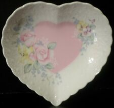 Mikasa Japan From My Heart White Bone China Dish Pink Floral Scalloped Edge EUC