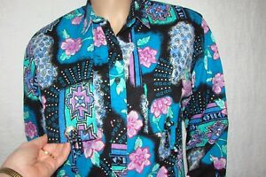 """Frontier Series Size Small Caped Back Floral Western Shirt Bust 34"""""""