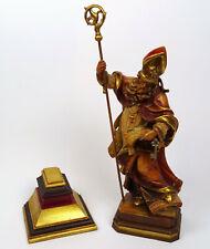 Religiöse Holzfigur Hl. Petrus der Apostel mit Bischofsstab, geschnitzt Südtirol