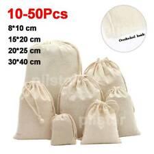 🔥10-50Pcs Drawstring Storage Bags Bulk Calico Bags Cotton Tote Gift Bag AU