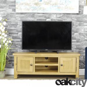 Milan Oak TV Unit   Large TV Stand Storage TV Cabinet   Medium Wood Tone