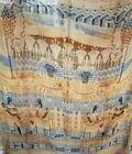 """Vintage 1920's Egyptian  Tapestry Linen Blanket 50 X 50"""" Silk Fringe Camels"""