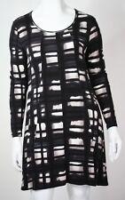 BNWT YARRA TRAIL Womens Size 14 Black White Grey Designer Viscose Stretch Dress