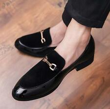 Men's Business Slip On Wedding Casual Leather Metal Loafers Shoes Pointy Toe 9.5