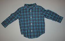 New Gymboree Buffalo Lodge Blue Purple Check Button Down Shirt Size 12-18M NWT