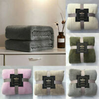 Soft Warm Plaid Fleece Bed Blanket Large Mesh Flannel Blankets Breathable Thick