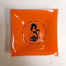 Vintage VTG Playboy Key Club Square Glass Ashtray Orange HTF