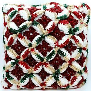 Handmade Crochet Throw Pillow 3D Pattern Christmas Holiday Red White Green 10x10