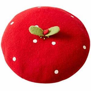 Handmade Kawaii Red Strawberry Beret Vintage Artist Painter Hat Women Wool Cap