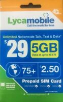 Lycamobile $29 Plan Preloaded SIM Card free 1Month 5GB  Data Unlimited Talk Text