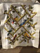 Bucilla Crewel Embroidery Birds on Trellis Vines Sing-A-Long Vintage Finished
