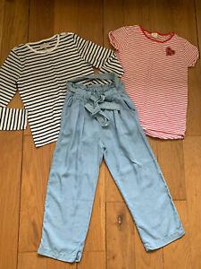 Girls Bundke ZARA & M&S: Trousers & Breton Tops 9-10y