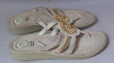 Women's Earth Comfort First Shoes Sandals Off White Size 9.5 M/W Leather T-strap